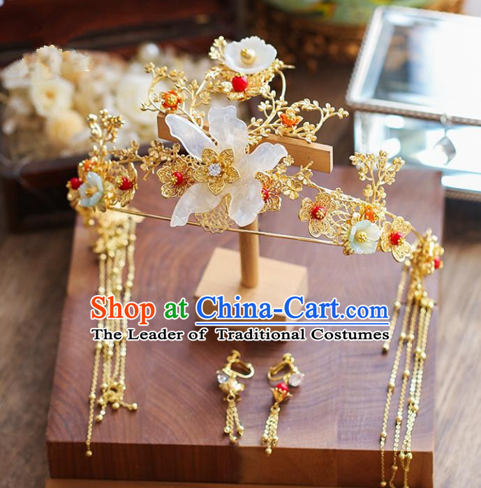 Chinese Traditional Bride Hair Accessories Xiuhe Suit White Shell Flowers Phoenix Coronet Wedding Hairpins Complete Set for Women