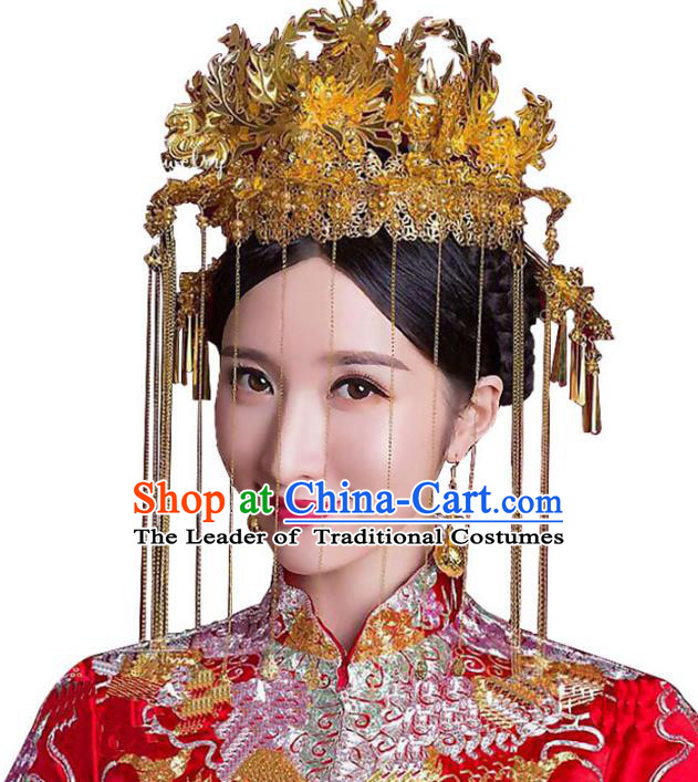 Chinese Traditional Bride Hair Accessories Headwear Xiuhe Suit Palace Golden Phoenix Coronet Wedding Hairpins for Women