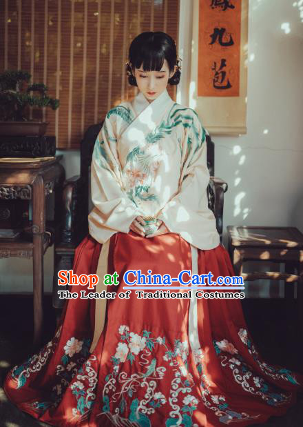 Traditional Chinese Ancient Palace Lady Hanfu Clothing, China Ming Dynasty Imperial Concubine Embroidered Costume for Women