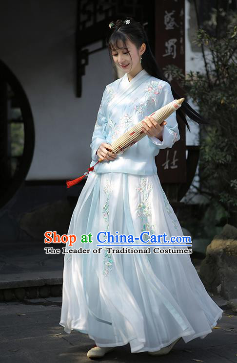 Traditional Chinese Ancient Ming Dynasty Nobility Lady Hanfu Clothing Princess Embroidered Blouse and Skirt for Women