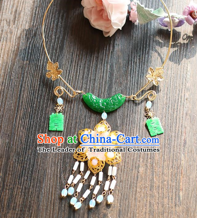 Chinese Traditional Bride Jewelry Accessories Xiuhe Suit Jade Necklace Wedding Tassel Necklet for Women