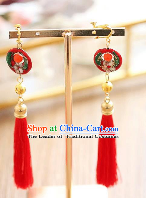 Chinese Traditional Bride Jewelry Accessories Xiuhe Suit Cloisonn Earrings Wedding Red Tassel Eardrop for Women