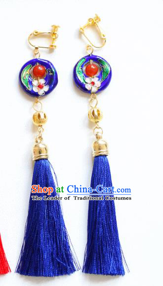 Chinese Traditional Bride Jewelry Accessories Xiuhe Suit Cloisonn Earrings Wedding Blue Tassel Eardrop for Women