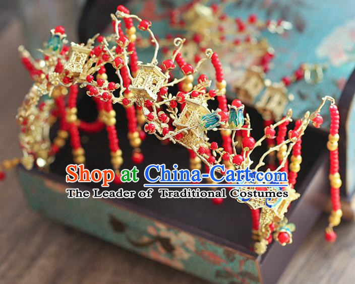 Chinese Traditional Bride Hair Accessories Xiuhe Suit Step Shake Wedding Hairpins Phoenix Coronet for Women