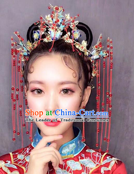 Chinese Traditional Bride Hair Accessories Xiuhe Suit Blueing Butterfly Phoenix Coronet Wedding Tassel Hairpins Complete Set for Women