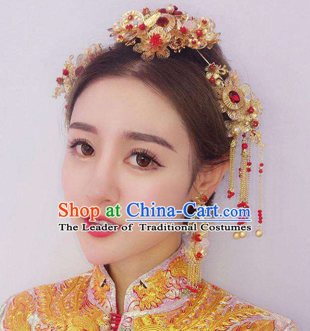 Chinese Traditional Bride Hair Accessories Xiuhe Suit Phoenix Coronet Wedding Red Tassel Hairpins for Women