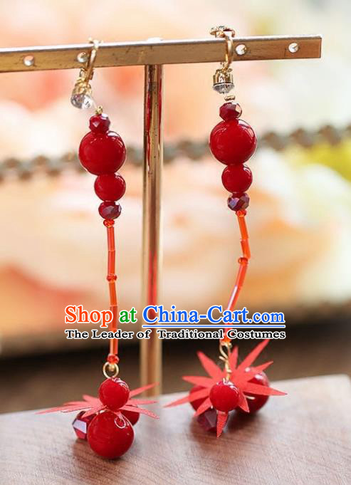 Chinese Traditional Bride Jewelry Accessories Red Beads Tassel Earrings Wedding Eardrop for Women