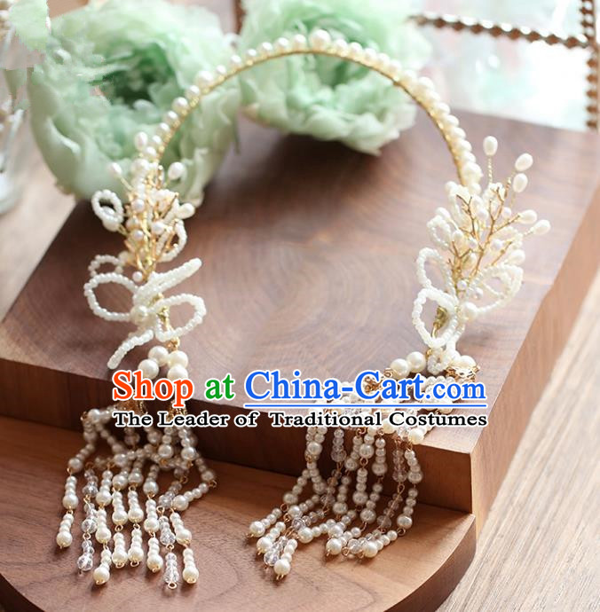 Chinese Traditional Bride Hair Accessories Baroque Wedding Beads Tassel Hair Clasp for Women