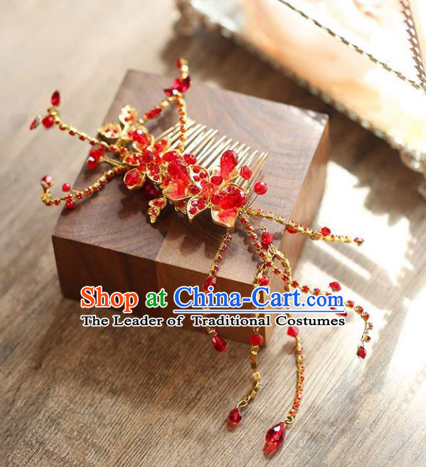 Chinese Traditional Bride Hair Accessories Baroque Princess Wedding Red Crystal Hair Comb for Women