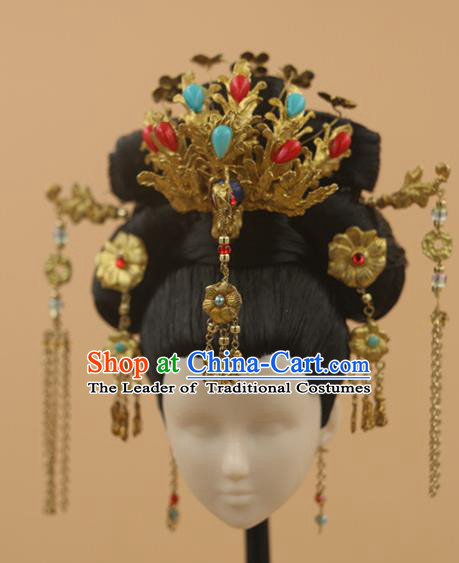 Chinese Traditional Silk Figurine Doll Hair Accessories Hairpins Headwear Queen Phoenix Coronet