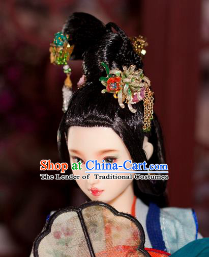 Chinese Traditional Silk Figurine Doll Hair Accessories Hairpins Ancient Han Dynasty Princess Headwear