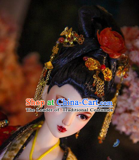 Chinese Traditional Silk Figurine Doll Hair Accessories Hairpins Ancient Imperial Empress Headwear