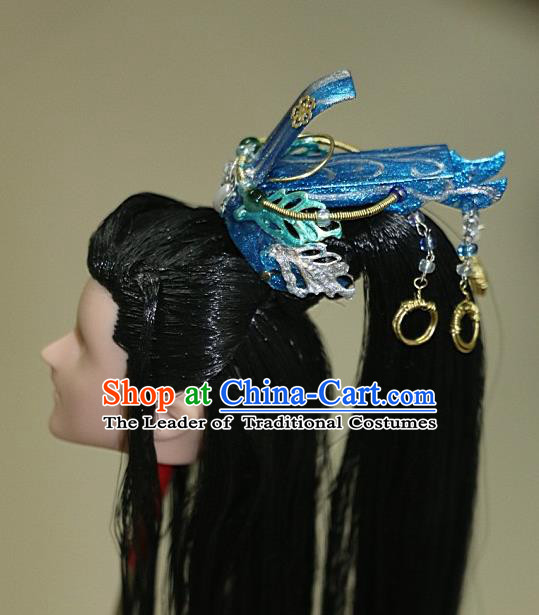 Chinese Traditional Silk Figurine Doll Hair Accessories Royal Highness Blue Crown Headwear