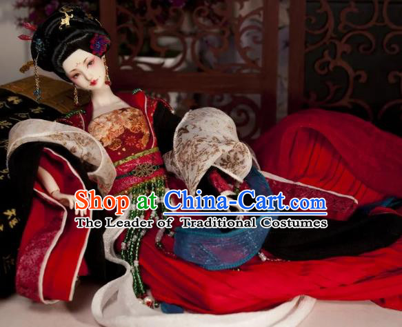 Chinese Traditional Silk Figurine Doll Hair Accessories Hairpins Ancient Tang Dynasty Imperial Concubine Headwear