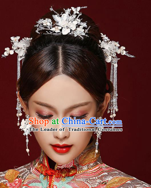 Chinese Traditional Bride Hair Accessories Xiuhe Suit Tassel Step Shake Wedding Hairpins for Women