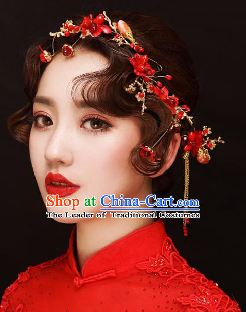 Chinese Traditional Bride Hair Accessories Xiuhe Suit Wedding Red Flowers Step Shake Hairpins for Women