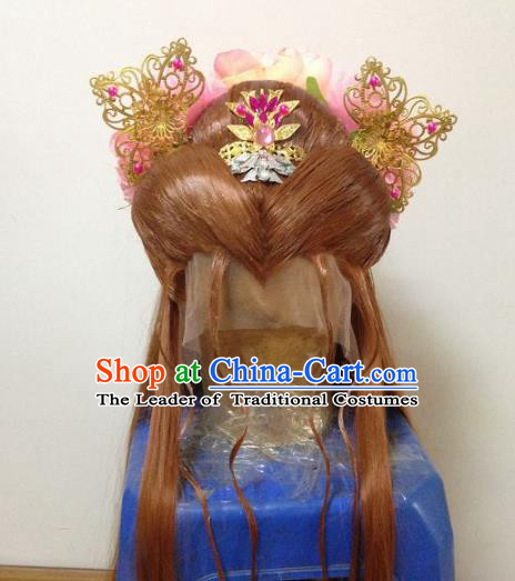 Chinese Traditional Ancient Imperial Princess Hair Accessories and Wigs Handmade Hairpins Complete Set for Women