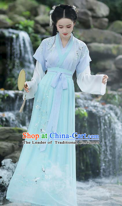 Traditional Chinese Song Dynasty Young Lady Hanfu Clothing, China Ancient Palace Lady Embroidered Costume for Women