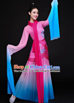 Traditional Chinese Classical Dancing Costume, China Yangko Costume Fairy Dance Hanfu Pink Clothing for Women
