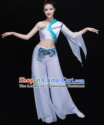 Traditional Chinese Classical Dance Fan Dance Costume, China Yangko Dance White Single Sleeve Clothing for Women