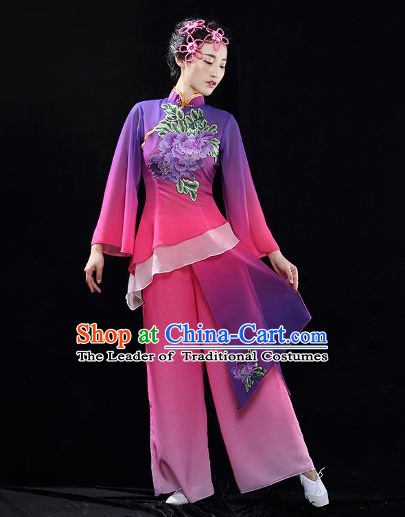 Traditional Chinese Classical Dance Fan Dance Costume, China Yangko Dance Purple Clothing for Women