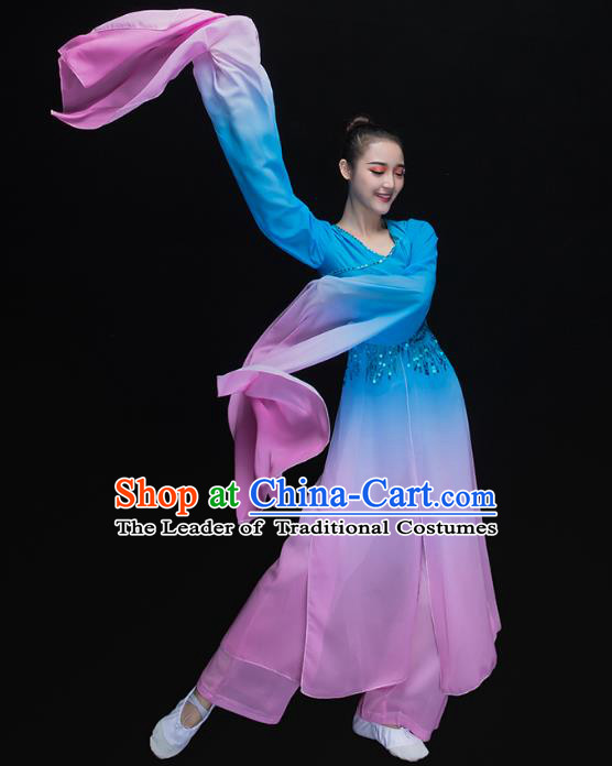 Traditional Chinese Classical Dance Fan Dance Blue Costume, China Yangko Dance Water Sleeve Clothing for Women