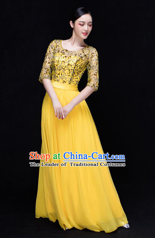 Traditional Chinese Modern Dance Costume Opening Dance Chorus Singing Group Yellow Bubble Dress for Women