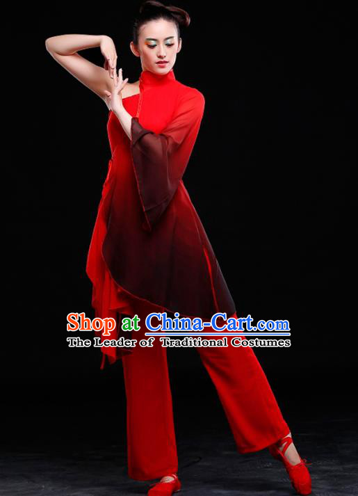 Traditional Chinese Classical Yangge Dance Red Uniforms, China Yangko Dance Clothing for Women