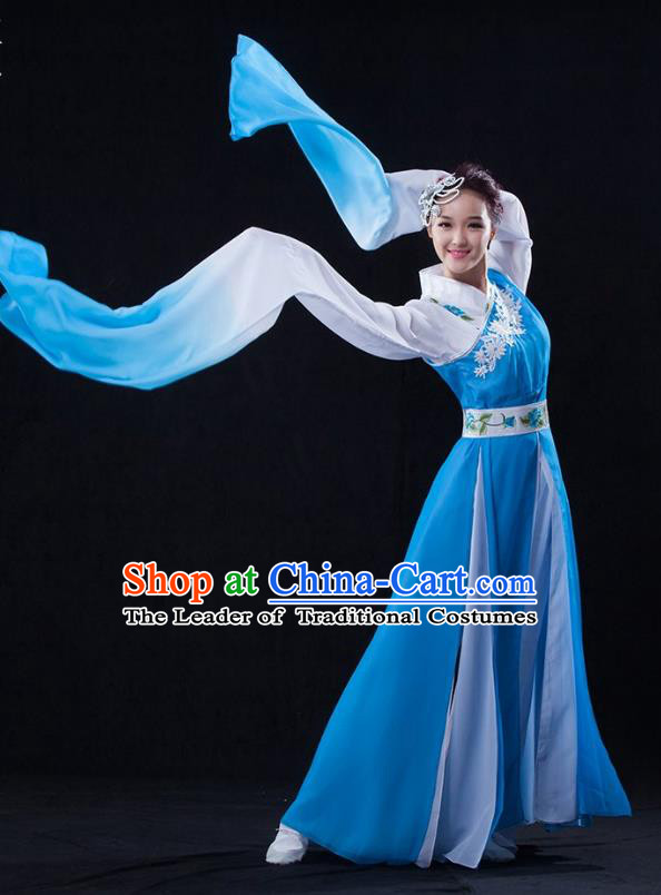 Traditional Chinese Classical Umbrella Dance Water Sleeve Costume, China Yangko Dance Blue Clothing for Women