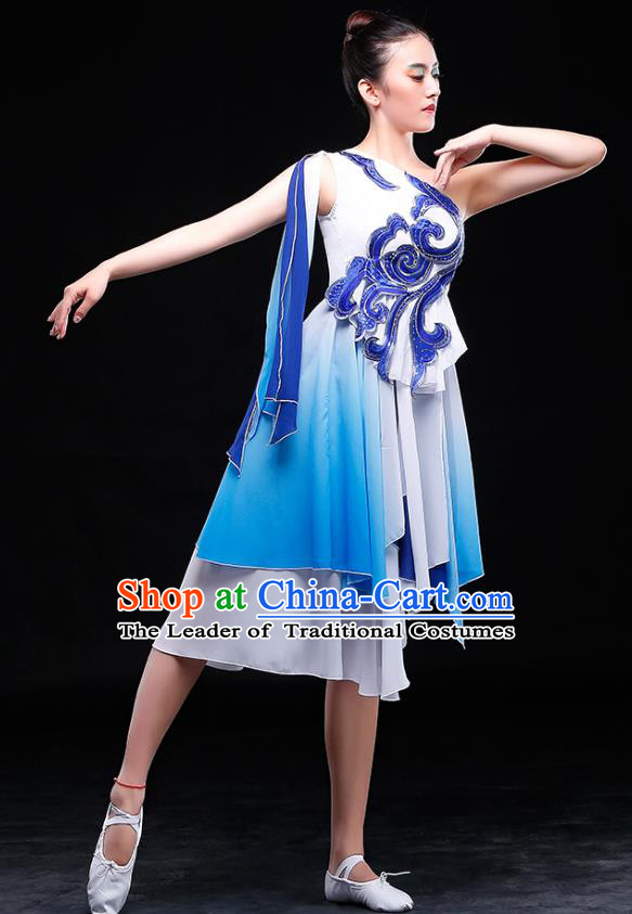 Traditional Chinese Classical Umbrella Dance Blue Costume, China Yangko Dance Clothing for Women