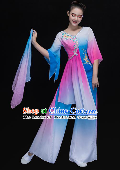 Traditional Chinese Classical Yangge Dance Costume, China Yangko Dance Fan Dance Blue Clothing for Women