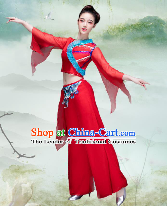Traditional Chinese Classical Dance Fan Dance Costume, China Yangko Dance Red Clothing for Women