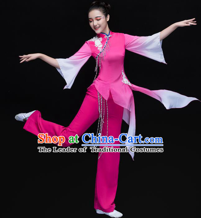 Traditional Chinese Classical Dance Umbrella Dance Rosy Costume, China Folk Dance Yangko Yellow Clothing for Women