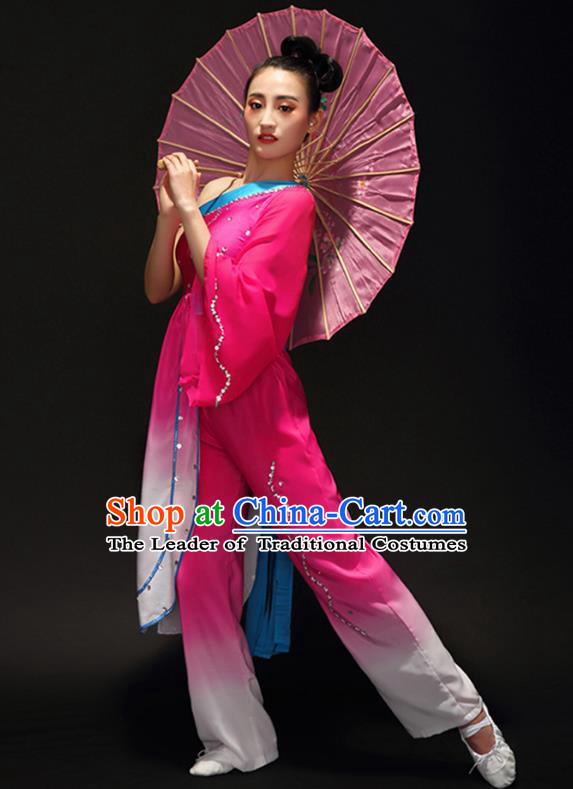 Traditional Chinese Classical Dance Umbrella Dance Costume, China Folk Dance Yangko Rosy Clothing for Women