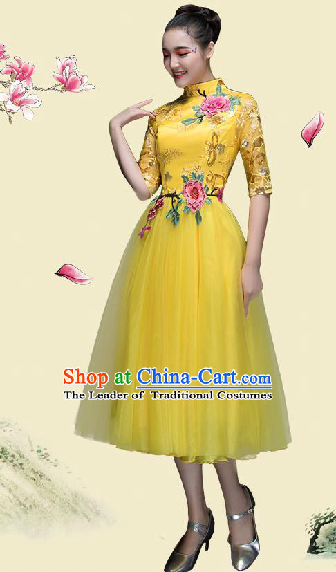 Traditional Chinese Classical Dance Fan Dance Costume, China Yangko Dance Yellow Dress Clothing for Women