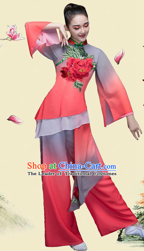 Traditional Chinese Classical Dance Fan Dance Costume, China Yangko Folk Dance Clothing for Women