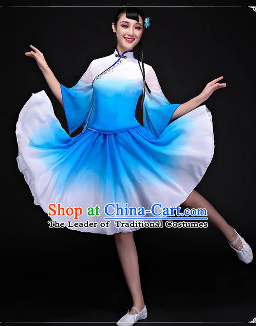 Traditional Chinese Classical Dance Fan Dance Costume, China Yangko Folk Dance Blue Dress Clothing for Women