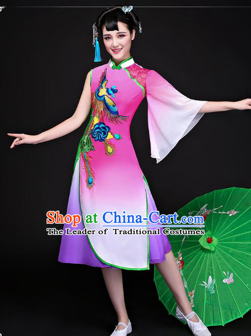 Traditional Chinese Classical Dance Umbrella Dance Cheongsam, China Yangko Folk Dance Dress Clothing for Women