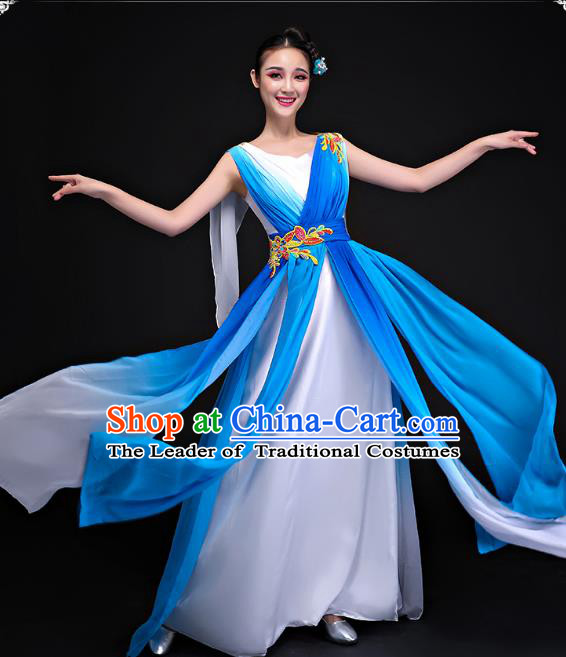 Traditional Chinese Modern Dance Costume, Opening Dance Chorus Blue Long Dress Clothing for Women