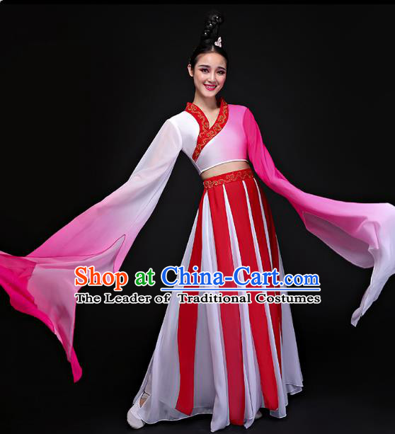 Traditional Chinese Classical Water Sleeve Dance Costume, China Yangko Folk Dance Clothing for Women