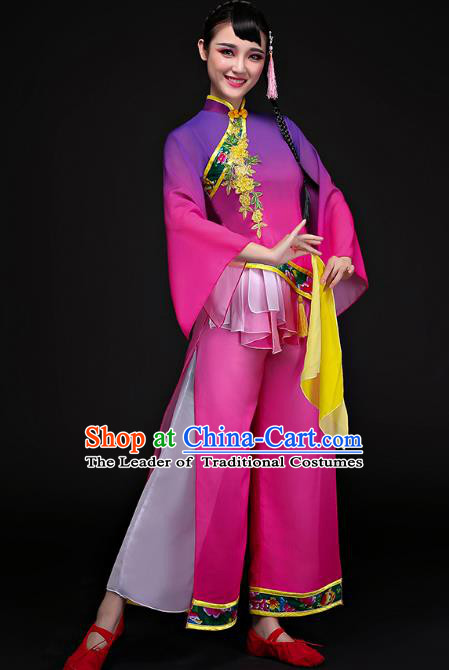 Traditional Chinese Classical Fan Dance Costume, China Yangko Folk Dance Purple Clothing for Women