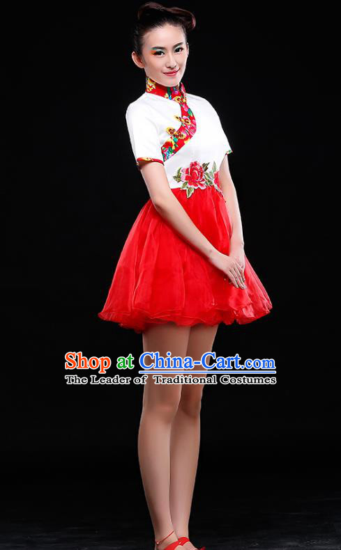 Traditional Chinese Classical Dance Costume, China Yangko Folk Dance Red Short Dress Clothing for Women