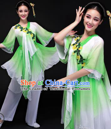 Traditional Chinese Classical Yangge Dance Costume, China Yangko Folk Dance Green Clothing for Women