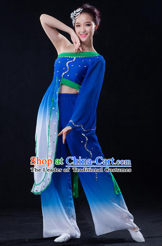 Traditional Chinese Classical Yangge Fan Dance Costume, China Yangko Folk Dance Blue Clothing for Women