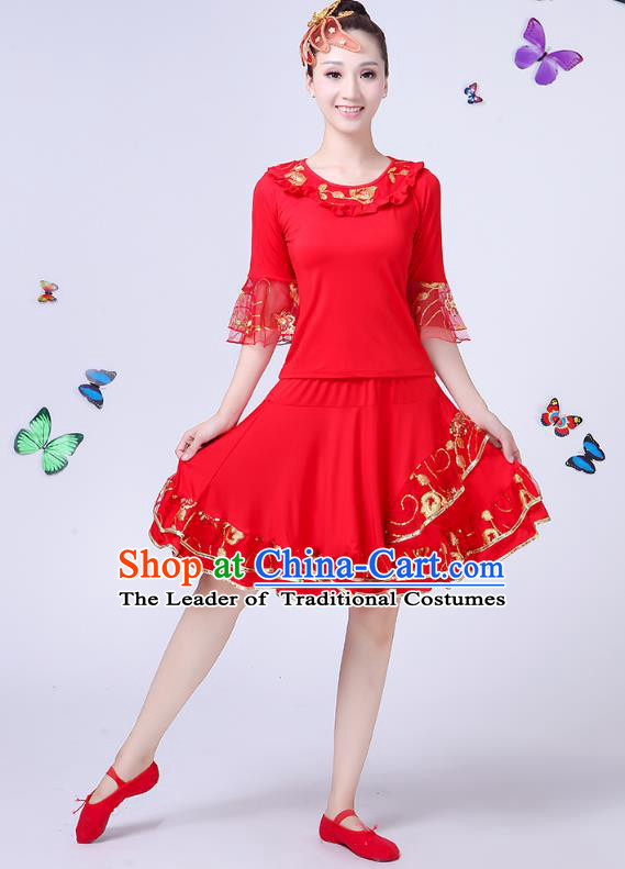 Traditional Chinese Classical Umbrella Dance Costume, China Yangko Folk Dance Yangge Red Clothing for Women