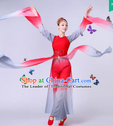Traditional Chinese Classical Umbrella Dance Water Sleeve Costume, China Yangko Folk Fan Dance Red Clothing for Women