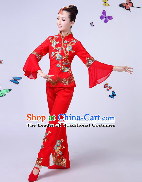Traditional Chinese Classical Umbrella Dance Embroidered Red Uniform, China Yangko Folk Fan Dance Clothing for Women