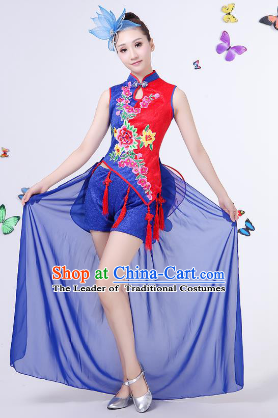 Traditional Chinese Modern Dance Opening Dance Clothing Jazz Dance Chorus Embroidered Blue Costume for Women