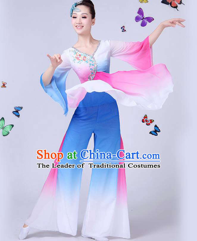 Traditional Chinese Classical Umbrella Dance Embroidered Costume, China Yangko Folk Fan Dance Clothing for Women