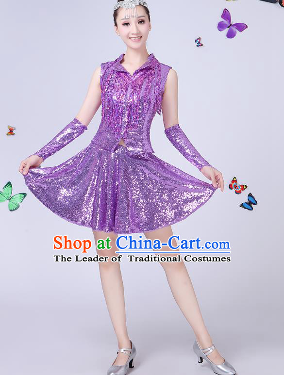 Traditional Chinese Modern Dance Opening Dance Jazz Dance Purple Uniform Folk Dance Chorus Costume for Women